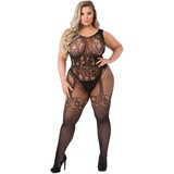 Lovehoney Plus Size Black Crotchless All-in-One Floral Lace Bodystocking