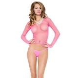 Music Legs Pink Fishnet Long Sleeve Top