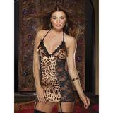 Dreamgirl Leopard & Lace Garter Chemise Set