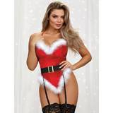 Dreamgirl Sexy Santa Velvet Feather-Trimmed Belted Body