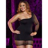Lapdance Plus Size One Shoulder Mini Dress