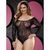 Lapdance Plus Size Long Sleeve Lace Teddy