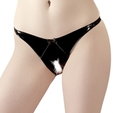 Black Level PVC Crotchless Open Back Panties