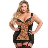 Lovehoney Plus Size Treasure Me Leopard Print Underwired Chemise Set