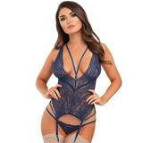 Ensemble bustier décolleté string dentelle Late Night Liaison bleu, Lovehoney