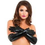 Lovehoney Black Wet Look Elbow-Length Gloves