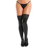 Lovehoney Black Wet Look Thigh Highs with Lace Tops