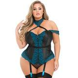Lovehoney Plus Size Midnight Soiree Blue and Black Floral Corset Set