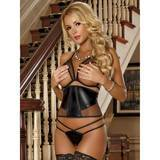 Exposed Wet Look Open Bra, Cincher and Crotchless G-String Set