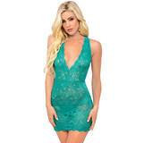 Escante Strappy Back Lace Turquoise Chemise Set