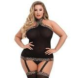 Lovehoney Plus Size Black Garter Dress with Leopard Trim
