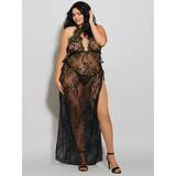 Dreamgirl Plus Size Black Long Lace Gown and G-String Set
