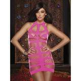 Dreamgirl Pink Fence Net Halterneck Mini Dress Set