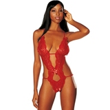 Shirley of Hollywood Red Peek-A-Boo Lace Crotchless Teddy