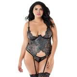 Dreamgirl Plus Size Silver Underwired Lace Bustier and G-String Set