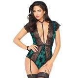 Seven 'til Midnight Green Flocked Mesh and Lace Plunge Teddy