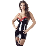Black Level PVC Mini Dress with Suspenders