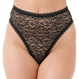 Lovehoney Black High-Waisted Leopard Lace Thong