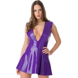 Easy-On Latex Purple Plunge Skater Dress