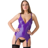 Easy-On Latex Purple Basque with Suspenders