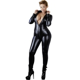 Cottelli Plus Size Black Long Sleeve Zip-Through Wet Look Catsuit