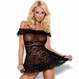 Obsessive Black Lace Off-the-Shoulder Babydoll