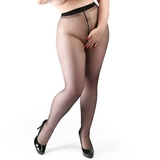 Miss Naughty Plus Size Black Sheer Crotchless Pantyhose