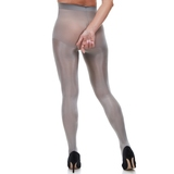 Miss Naughty Silver Metallic Shine Crotchless Pantyhose