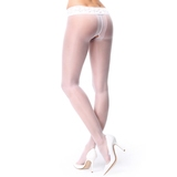 MissO 20 Denier White Crotchless Pantyhose with Lace Top