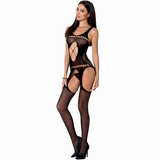 Passion Black Zig-Zag Lace Suspender Bodystocking