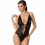 Passion Black Wet Look and Lace Deep Plunge Body
