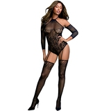 Dreamgirl Black Cold Shoulder Lace Garter Bodystocking
