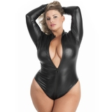Lovehoney Plus Size Fierce Wet Look Long Sleeve Zipper Teddy
