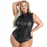 Lovehoney Plus Size Fierce Wet Look Zip-Around Peek-A-Boo Body