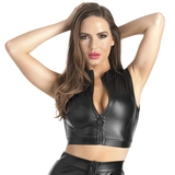 Lovehoney Fierce Black Wet Look Zip-Up Crop Top