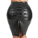 Lovehoney Plus Size Fierce Black Leather-Look Skirt