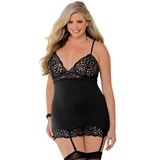 Escante Plus Size Black Lace-Up Back Chemise Set