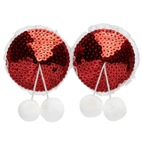 Peekaboos Red Sequin Pom-Pom Nipple Pasties