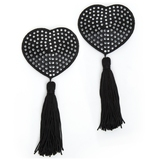 Peekaboos Black Satin Heart-Shaped Diamante Nipple Tassels