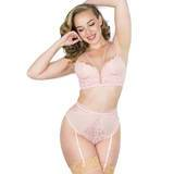 Lovehoney Parisienne Light Pink Bra and Crotchless Thong Set