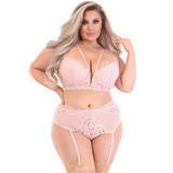 Lovehoney Plus Size Parisienne Light Pink Bra and Crotchless Thong Set