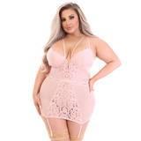 Lovehoney Plus Size Parisienne Light Pink Lace Plunge Chemise