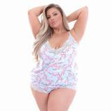 Lovehoney Plus Size Cherry Blossom Hemdchen-Set (blau)