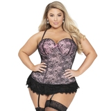 Seven 'til Midnight Plus Size Pink Lace Bustier Set