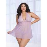Dreamgirl Plus Size Lavender Sheer Lace Babydoll Set