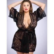 Lovehoney Plus Size Flaunt Me Floral Lace Robe