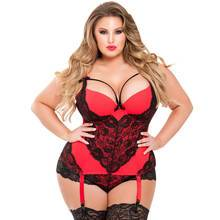 Lovehoney Plus Size Belle Amour Red and Black Basque Set
