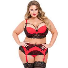 Lovehoney Plus Size Belle Amour Red and Black Longline Bra Set
