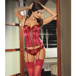Dreamgirl Red Roses Stretch Satin Corset Stockings Set
