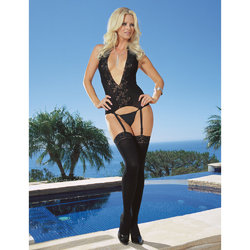 Dreamgirl Black Diamond Opaque Halter Bustier Set